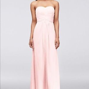 Long Strapless Chiffon Dress and Pleated Bodice